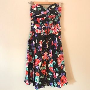 Express Black Floral Silk Strapless Dress